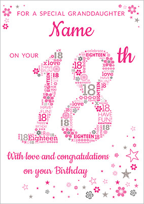 Granddaughter 18th Birthday Card Pink