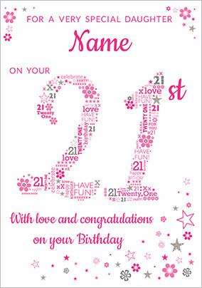 Daughter 21st Birthday Card - Pink