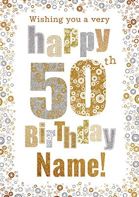 50th Birthday Card Bubbles - Milestone Birthday