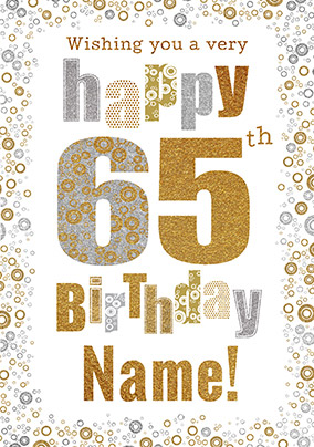 65th Birthday Card Bubbles