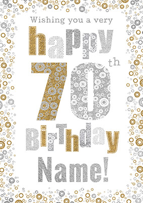 70th Birthday Card Bubbles