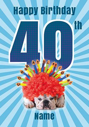40th Birthday Card Bulldog