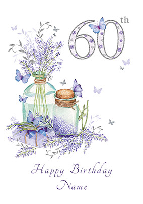 60th Birthday Card Lavender