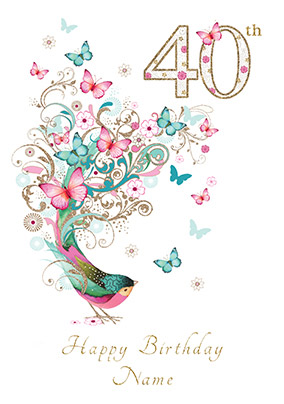 40th Birthday Card Bird