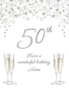 50th Birthday Card Champagne - Milestone Birthday