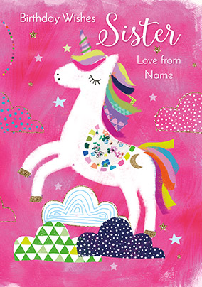 Unicorn Sister Birthday Card NO Preview Image Is Not Found
