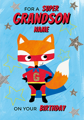 Grandson Super Fox Birthday Card
