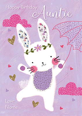 Auntie White Bunny Birthday Card