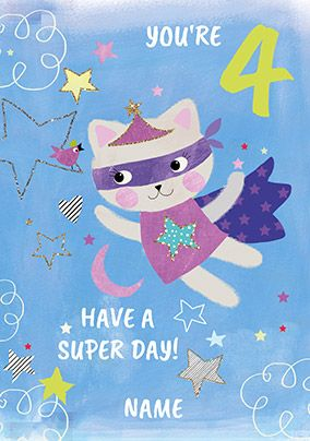 4 Today Super Cat Birthday Card