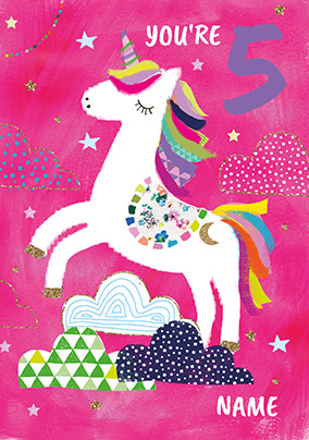 5 Today Unicorn Birthday Card