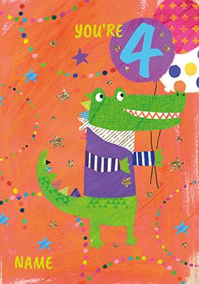 4 Today Crocodile Birthday Card