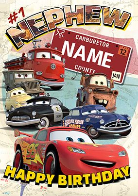 Disney Cars - Birthday Card Nephew
