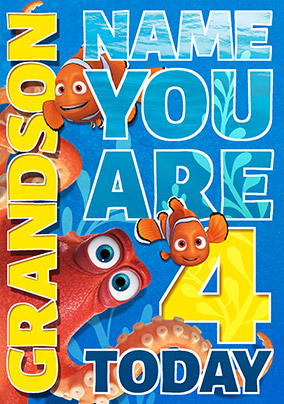 Finding Dory - Birthday Card Grandson You're 4