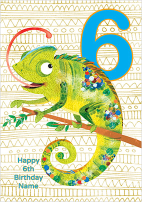 Chameleon 6 Today Birthday Card