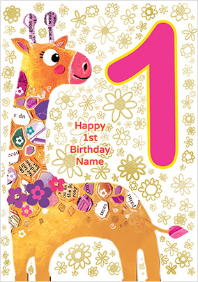 Giraffe 1 Today Birthday Card