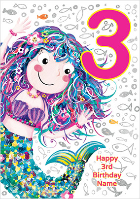 Mermaid 3 Today Birthday Card