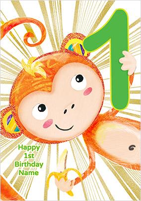 Monkey 1 Today Birthday Card