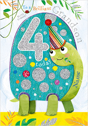Grandson Tortoise 4 Today Birthday Card
