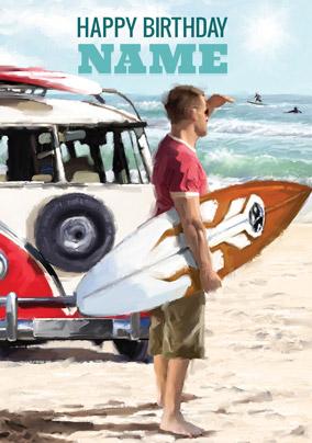 Surfing Personalised Birthday Greetings Card