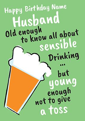 Fizz Husband Birthday Card - Old Enough