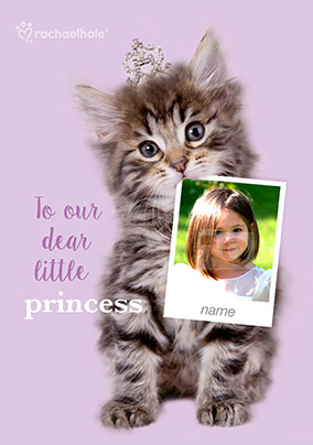 Kitten Photo Upload Birthday Card Little Princess