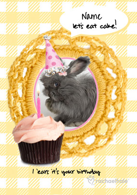 Grey Bunny personalised Birthday Card Let's eat Cake!
