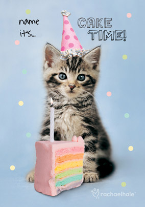 Tabby Kitten Personalised Birthday Card Its Cake Time NO Preview Image Is Not Found