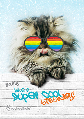 Fluffy Cat in Shades Personalised Cool Birthday Card
