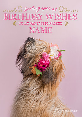 Dog With Floral Garland Fantastic Friend Birthday Card