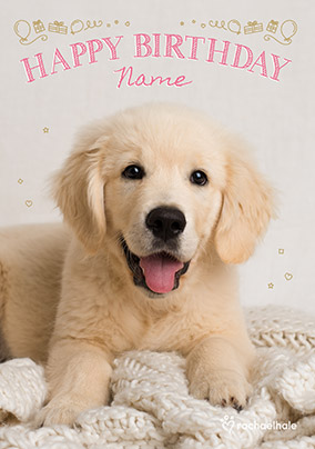 Golden Labrador Puppy Birthday Card