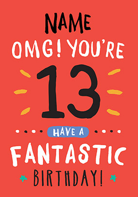 13th Birthday Card 13 Today Orange