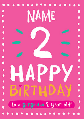 2nd Birthday Card 2 Today Pink