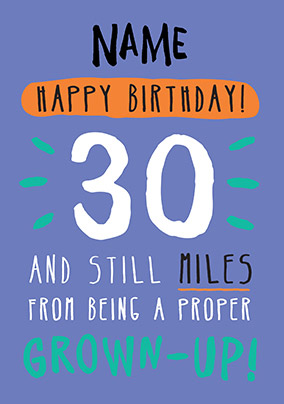 30th Birthday Card 30 Today Blue
