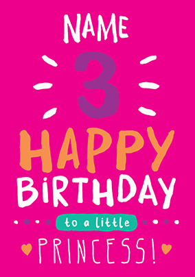 3rd Birthday Card 3 Today Pink