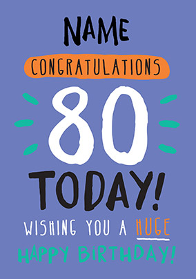 80th Birthday Card 80 Today Blue - Rock, Paper, Awesome