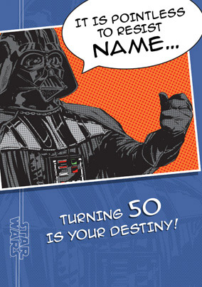 Darth Vader Editable Age 50 Birthday Card