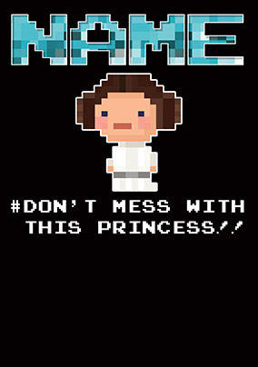 Princess Leia 8 Bit Birthday Card NO Preview Image Is Not Found