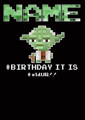Yoda 8 Bit Birthday Card Funky Pigeon