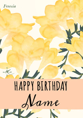 Florals - Birthday Card Yellow Freesia
