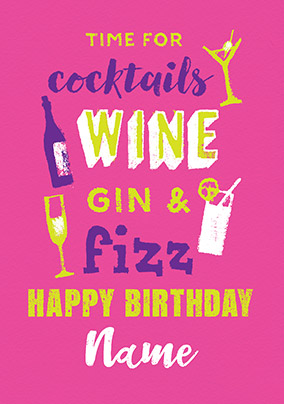 Gin & Fizz Personalised Card