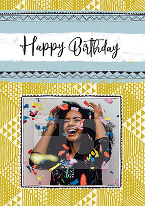 Happy Birthday Pattern Photo Card