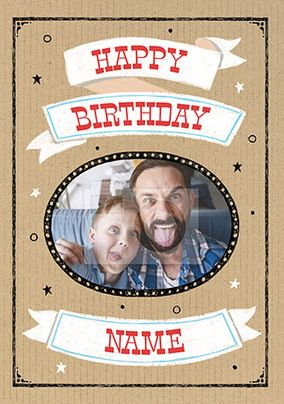 Happy Birthday Oval Frame Photo Card