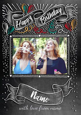 Happy Birthday Chalkboard Photo Card