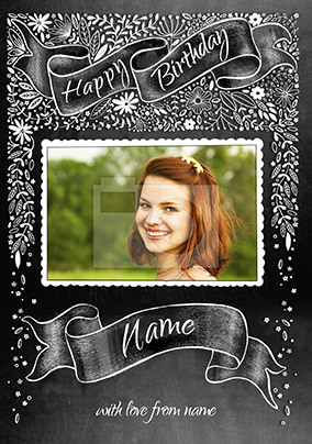 Happy Birthday Floral Chalkboard Photo Card