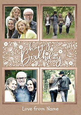 Happy Birthday Multi Photo Floral Card