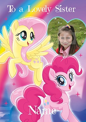 My Little Pony Sister Photo Birthday Card