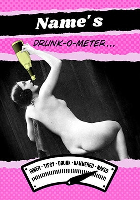 Drunk-O-Meter Naked Birthday Card