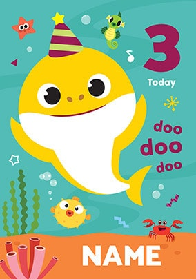 Baby Shark 3 Today Personalised Card