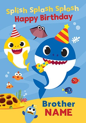 Baby Shark Brother Personalised Birthday Card