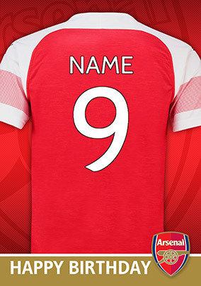 Arsenal FC - Shirt 9 Birthday Card